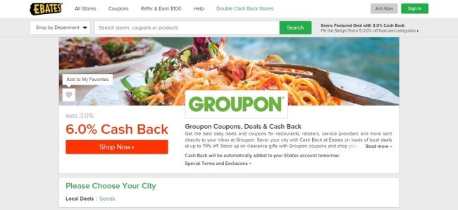Groupon Ebates Cash Back