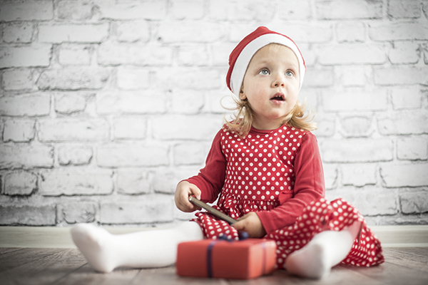 Little girl Christmas Santa hat