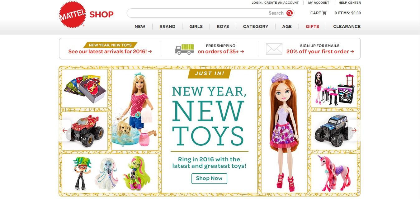 Mattel Shop Homepage