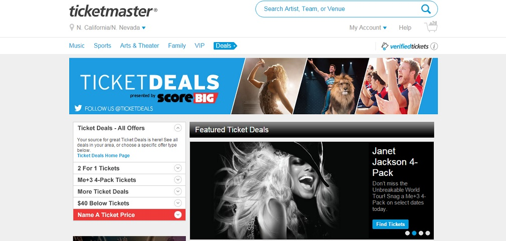 Ticketmaster Homepage