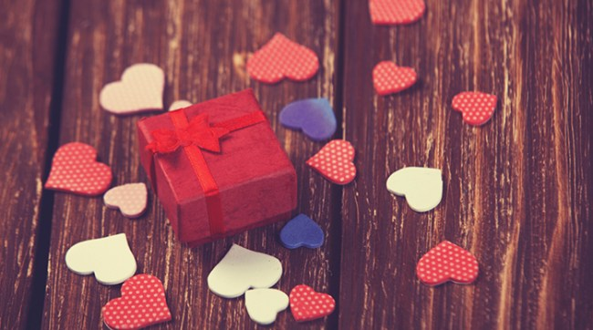 Red Gift Box With Hearts