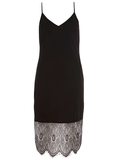 Alice And You Black Eyelash Lace Slip Dress