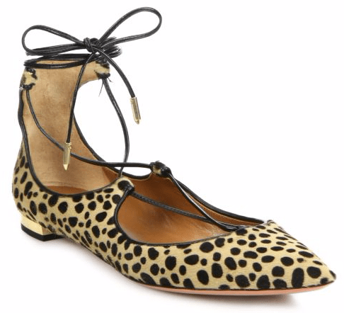 Christy Spotted Calf Hair Lace-Up Flats