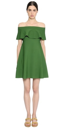 Green Valentino Ruffled Dress