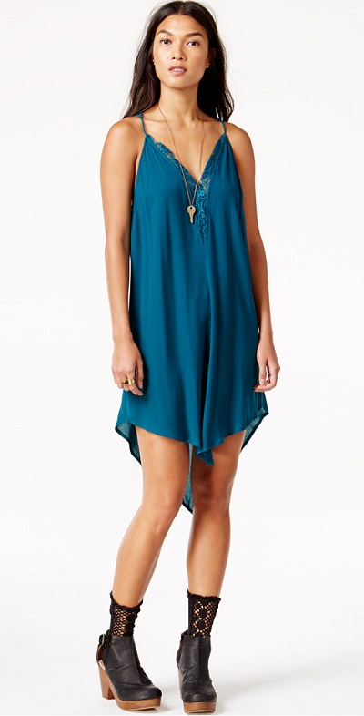Free People Asymmetrical Lace-Trim Slip Dress