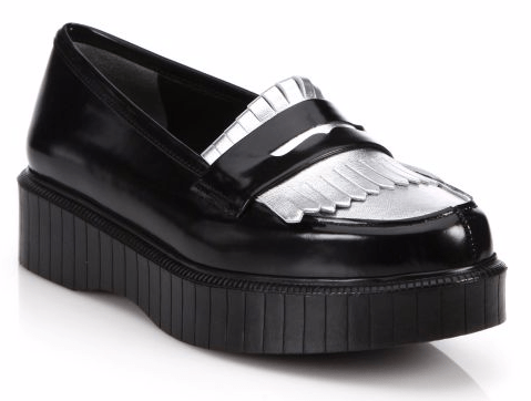 Fringed Leather Platform Loafers