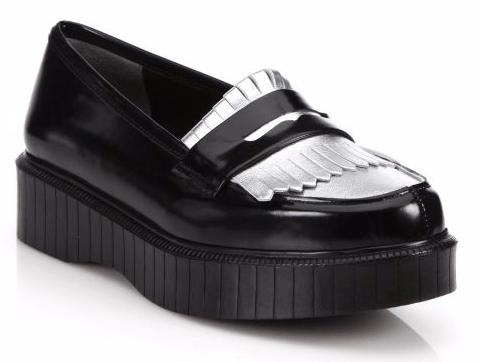 Fringed Leather Platform Loafers