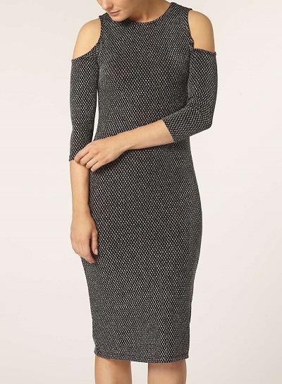 Silver Cold Shoulder Tube Dress