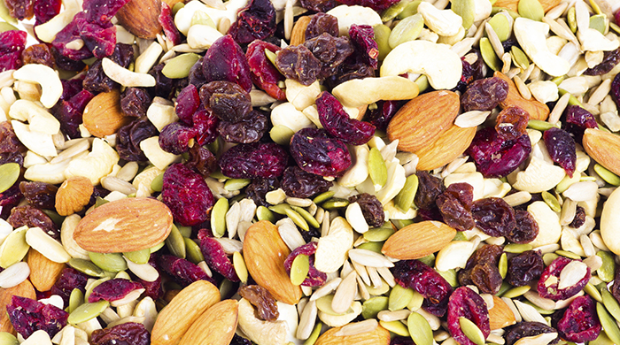 Trail mix with dried fruit and nuts