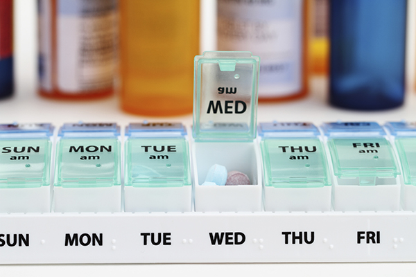 Pill box marking the days of the week for prescription medication