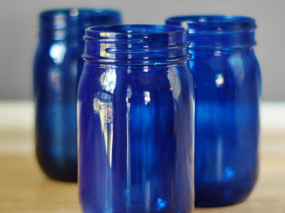 Etsy blue mason jars vases