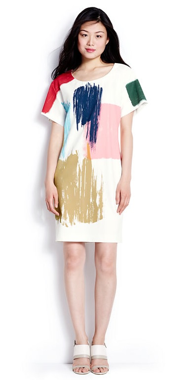 Brushstroke print t-shirt dress