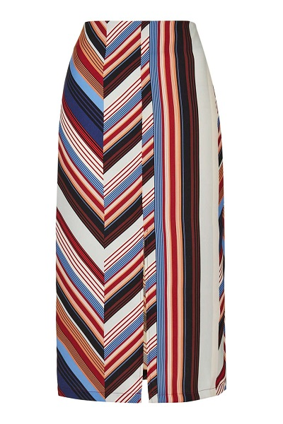 Multicolored Striped Deckchair Split Midi Skirt