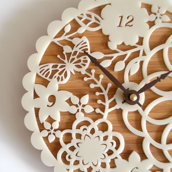 Etsy white floral wall clock