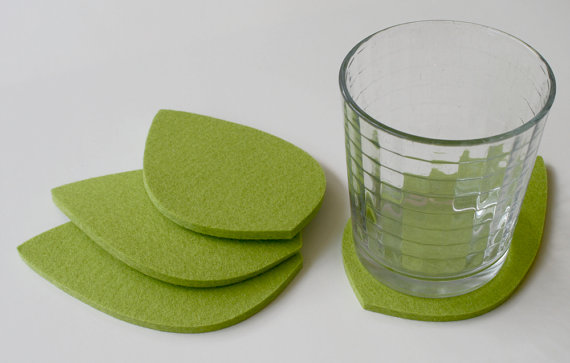Etsy green leaf drink coasters