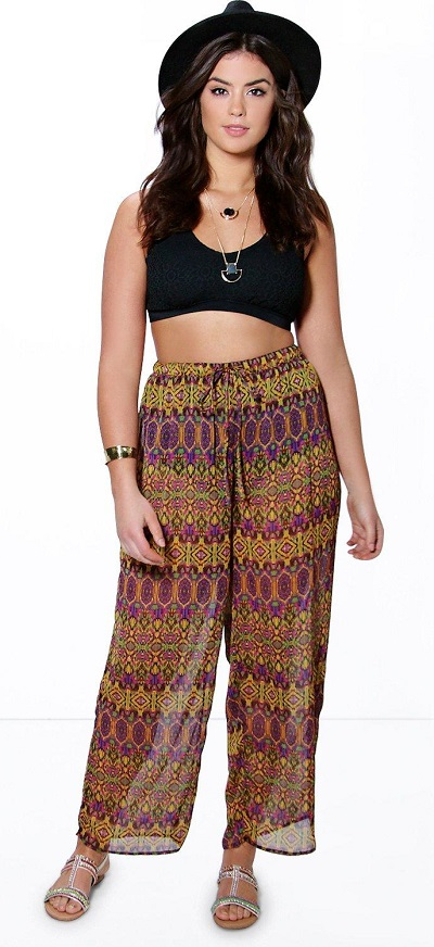 Multicolored Plus Imogen Printed Beach Trouser