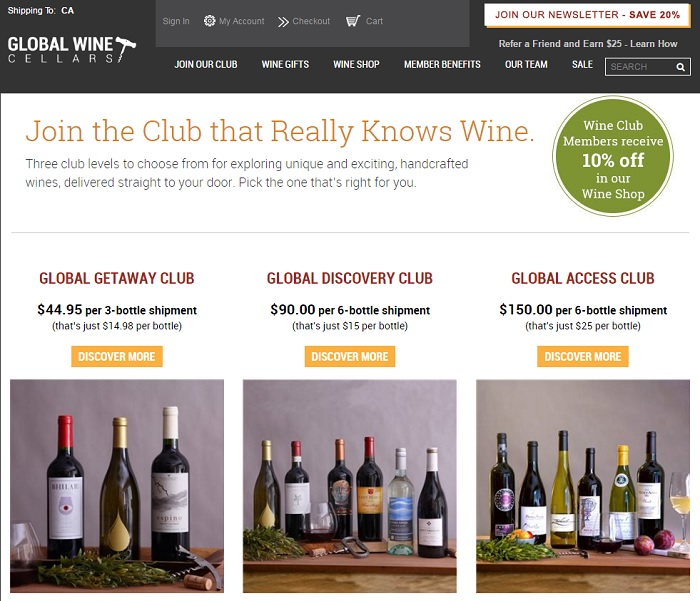 Global Wine Cellars homepage