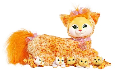Orange stuffed cat with kittens kitty surprise