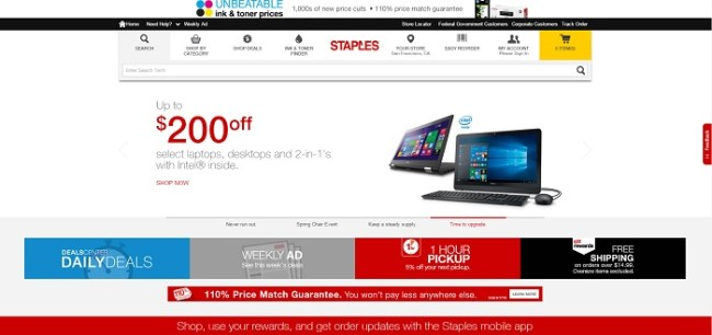 Staples.com homepage