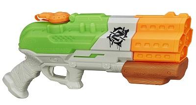 Green and orange super soaker water gun