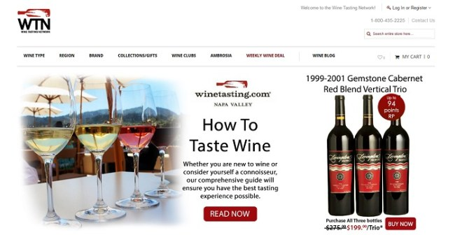 WineTasting.com homepage