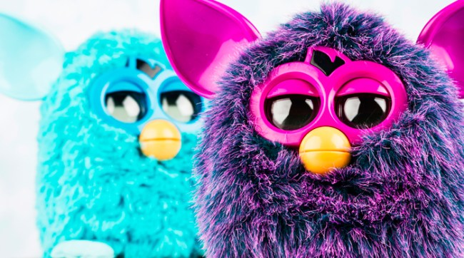 Purple and blue Furbys side by side