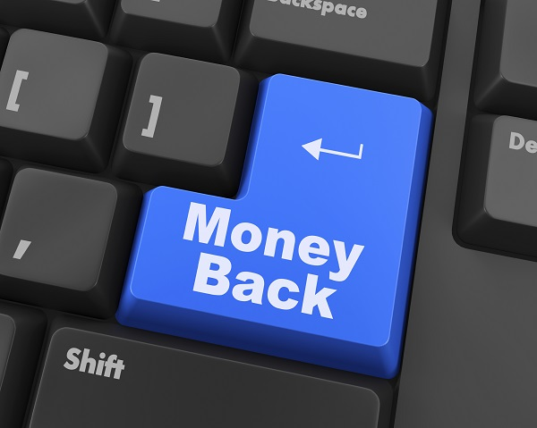 Keyboard with Money back text on button, raster