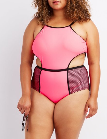 Mesh-Trim One-Piece Swimsuit