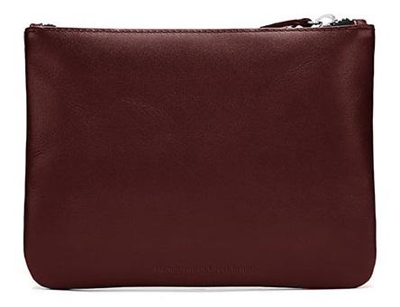 Oxblood flat pouch satchel