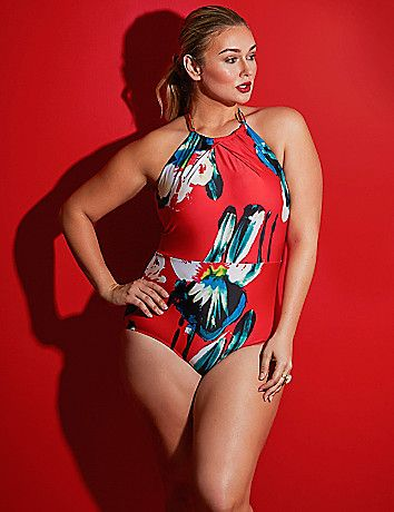 Floral print plus size one piece bathing suit