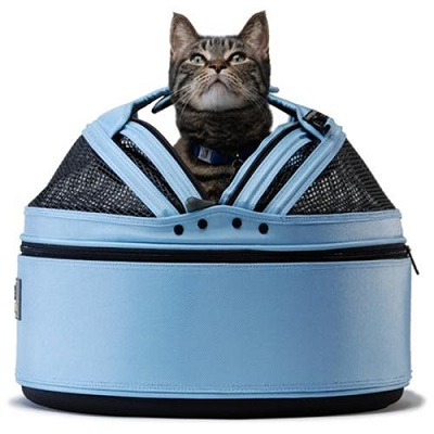 Blue cat carrier with cat inside
