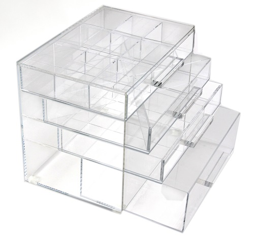 Clear makeup storage cube