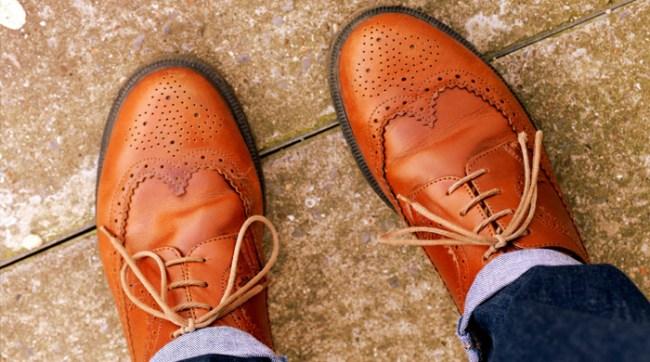 Overhead shot of men's dress shoes