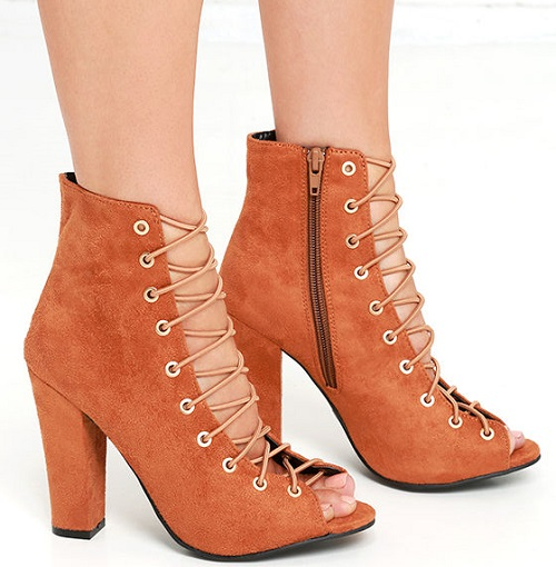 Always a Pleasure Chestnut Suede Lace-up Booties