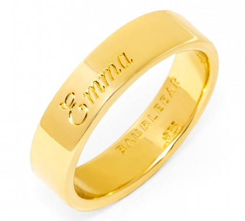 Custom engraved gold band ring