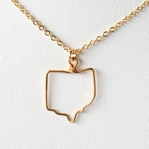 State outline gold necklace