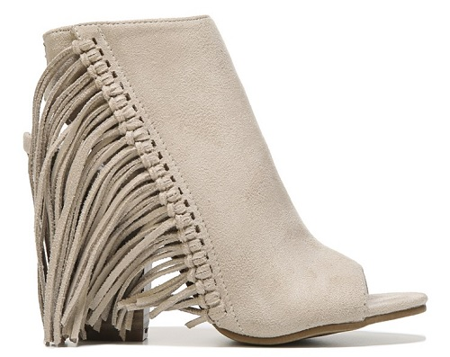 Gray Fringe Open Toe Bootie