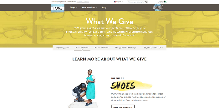 How TOMS gives page