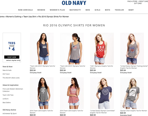 Shop Old Navy Olympic gear with cash back at Ebates