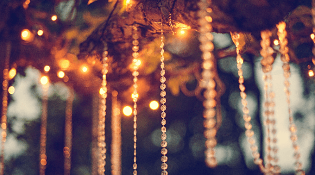 String lights hanging from a tree