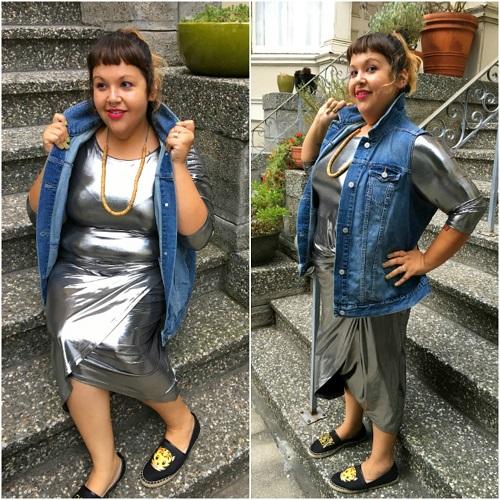 Silver dress and denim vest