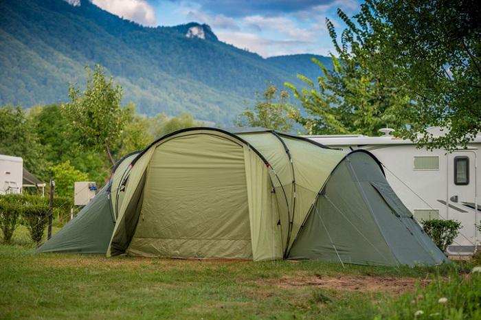 Big green camping tent