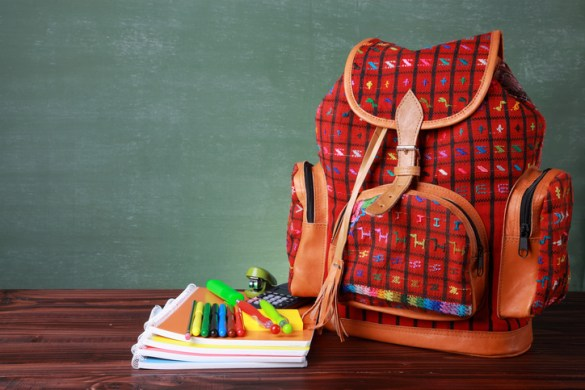 Handmade backpack with school supplies