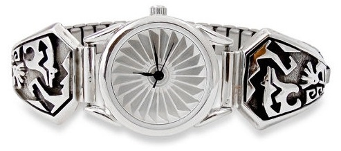 Silver etched women's watch