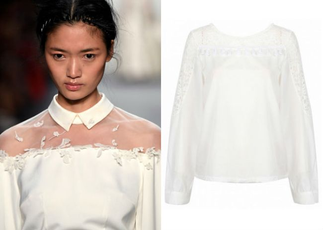 White Sheer Lace Panel Ruffle Detail Long Sleeve Blouse