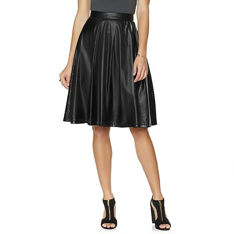 Wendy Williams Perforated Faux-Leather Skirt