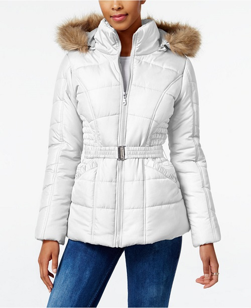 Rampage Faux-Fur-Trim Hooded Belted Puffer Coat