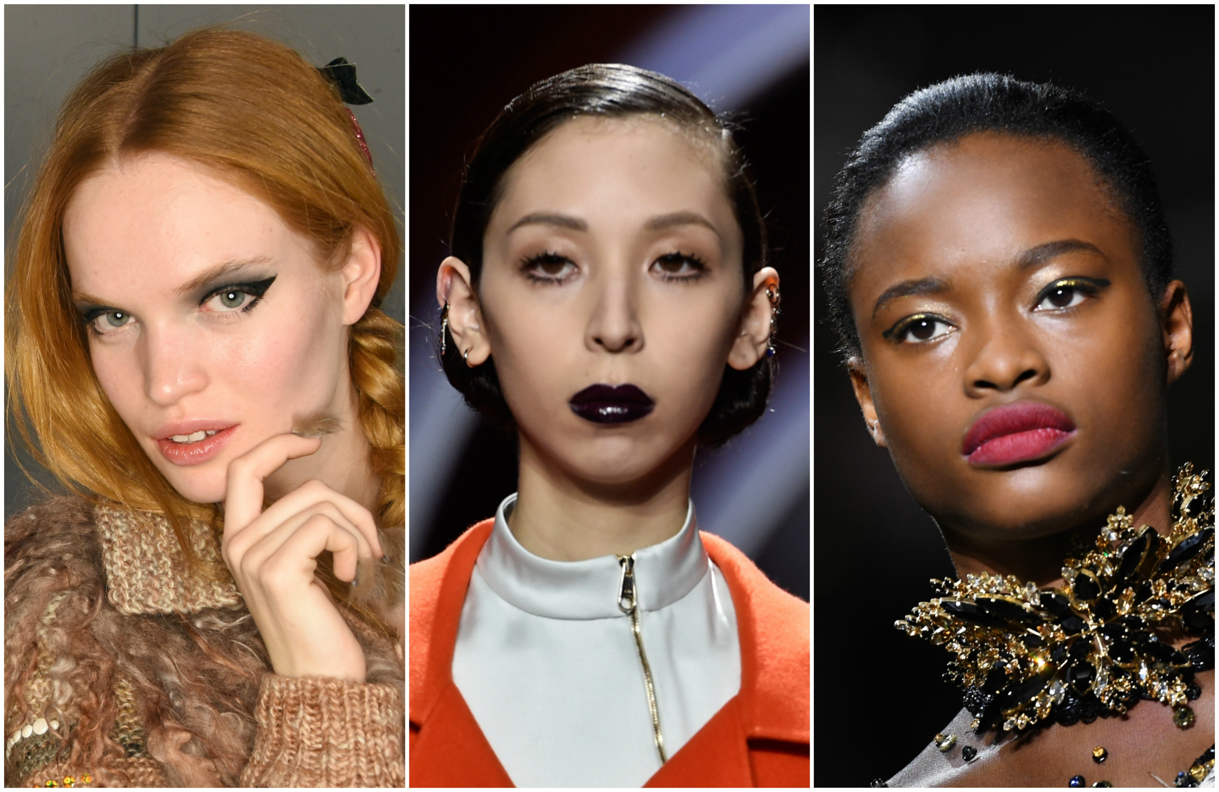 Runway models wearing fall makeup trends