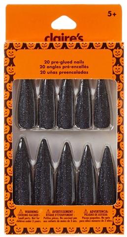 Halloween Black Glitter 20 Pre-Glued Witch Nails