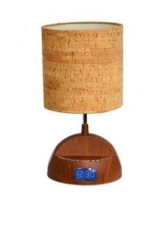 All the Rages LighTunes Bluetooth Wood Grain Speaker Lamp with Alarm Clock Radio